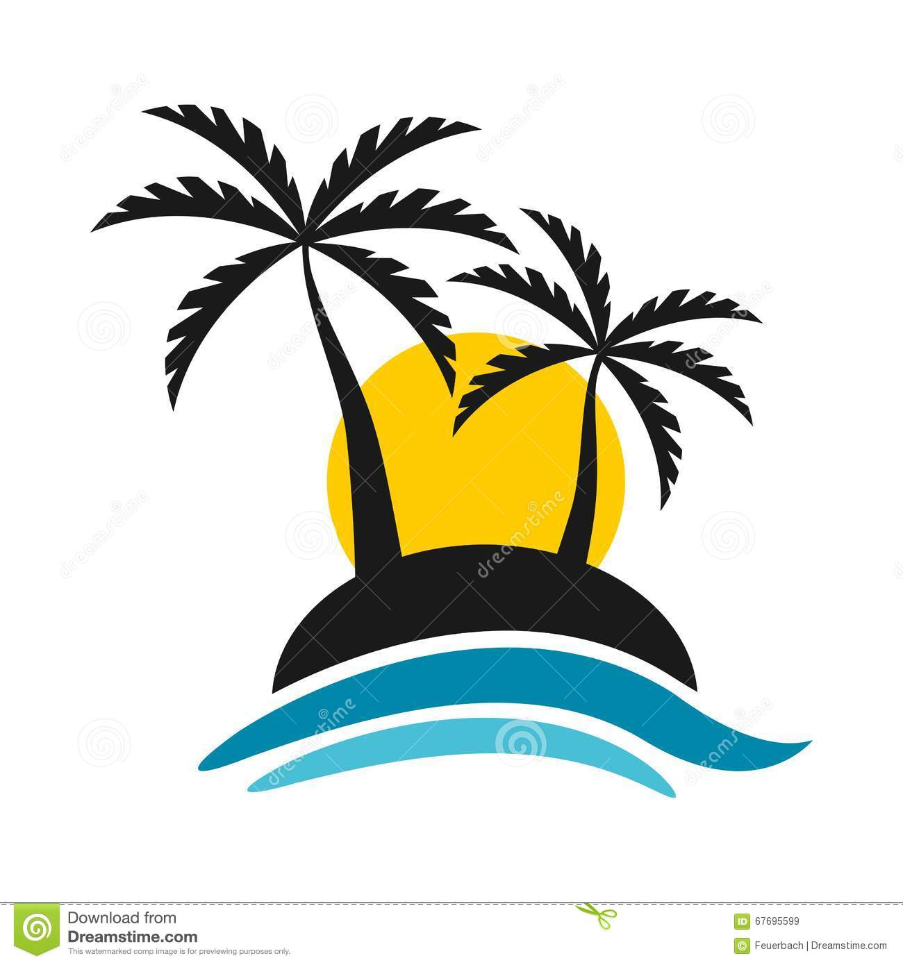 Tropical Island With Sunset And Sea Logo Vector Design Stock Image 67695599