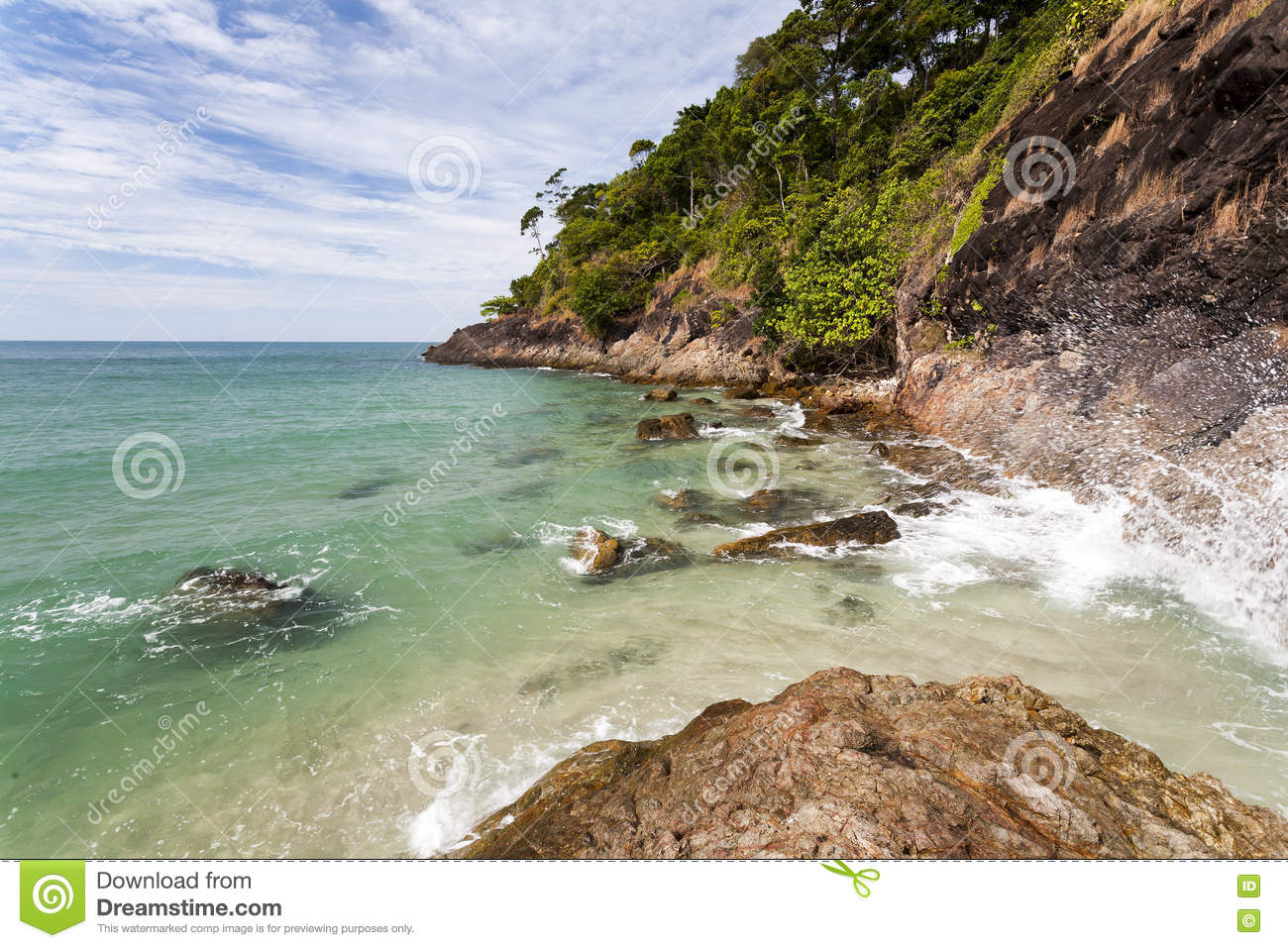 Tropical Island. Thailand Ocean with Cliff