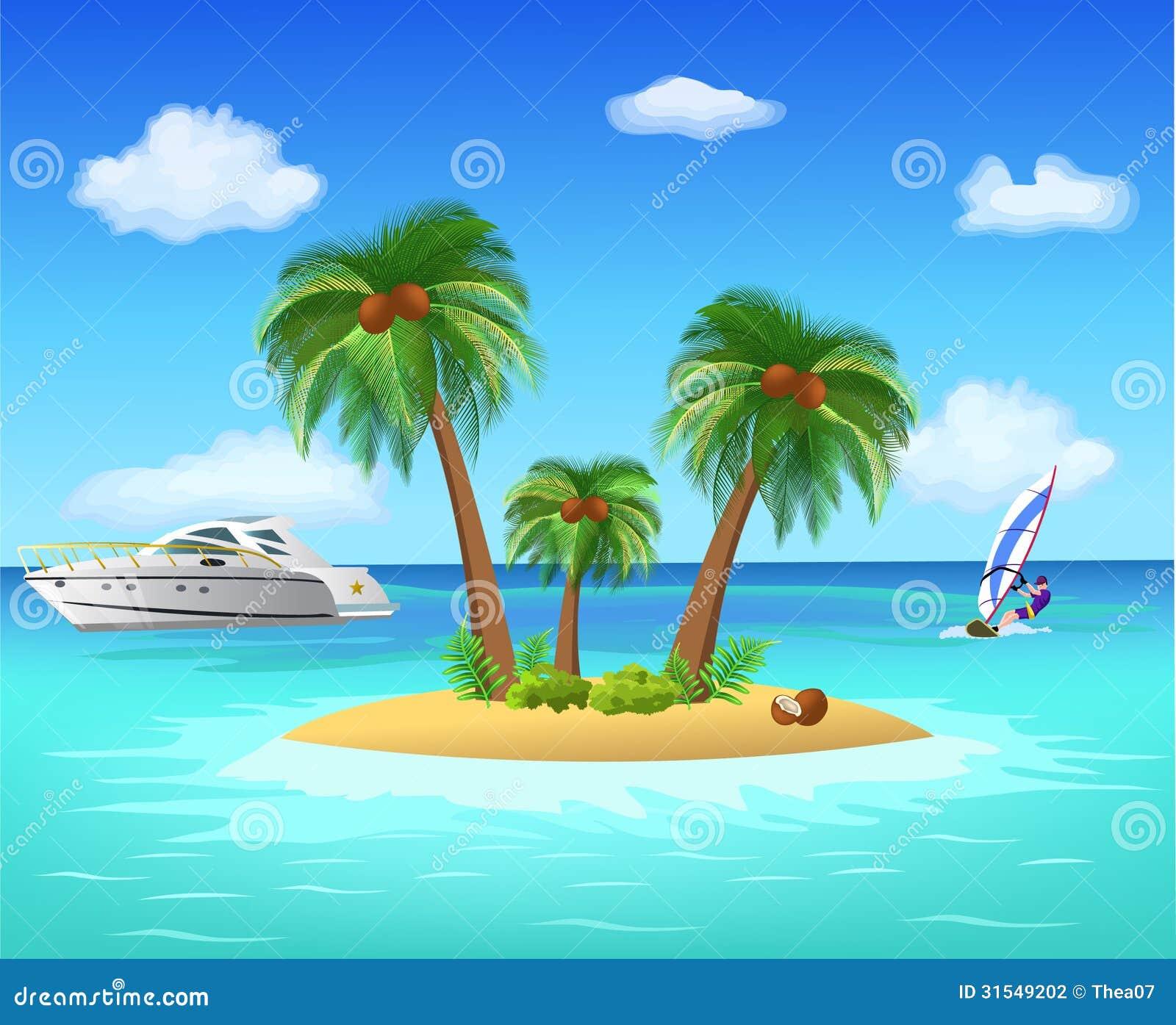 Tropical Island Stock Vector Illustration Of Design