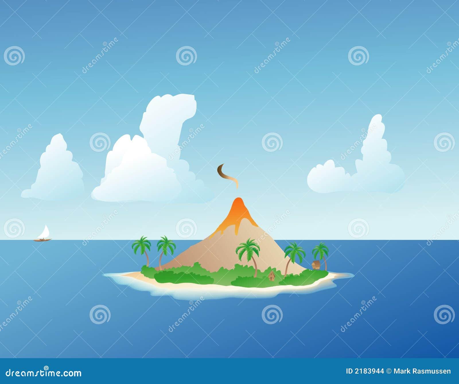 tropical island volcano stock vector  illustration of lava