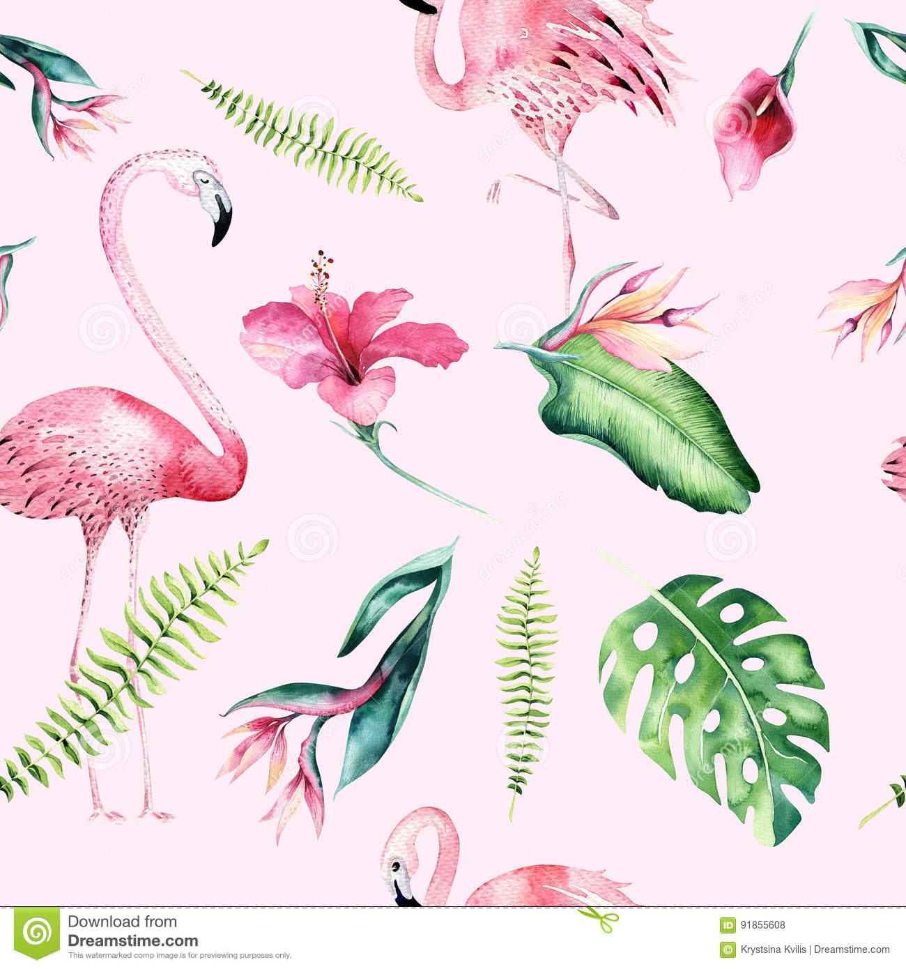 Download Tropical Isolated Seamless Pattern With Flamingo. Watercolor Tropic Drawing, Rose Bird And Greenery Palm Tree, Tropic Stock Photo - Image of aloha, leaf: 91855608