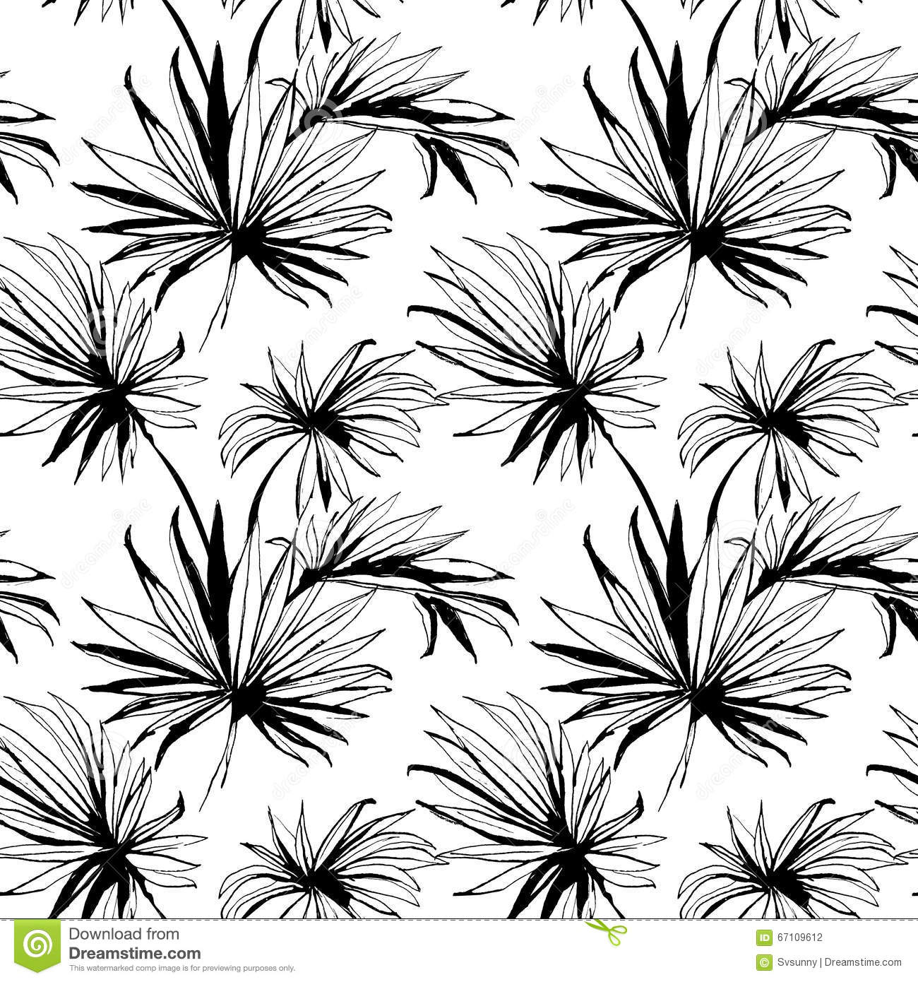 Tropical jungle floral seamless pattern background with palm le