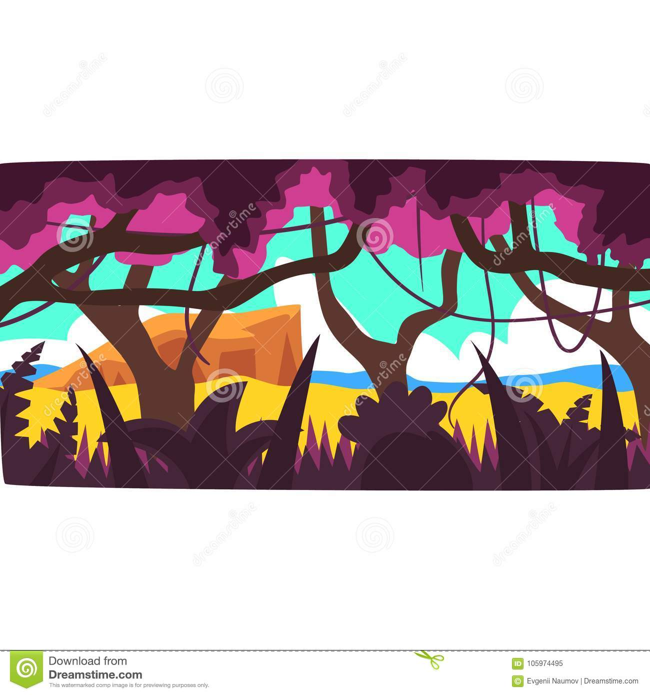 Tropical jungle, greenwood background with leaves, bushes and trees, tropical rainforest scenery in a day time vector