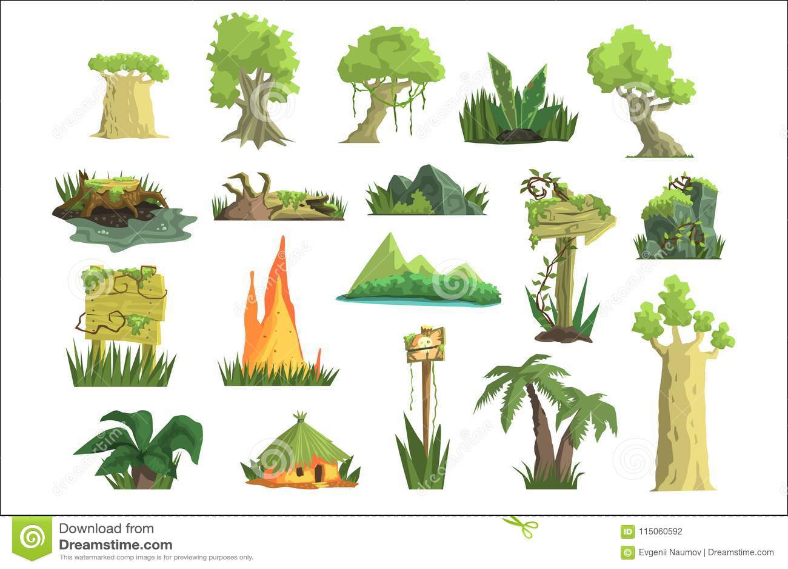 Tropical Jungle Landscape Set, Design Elements For ...