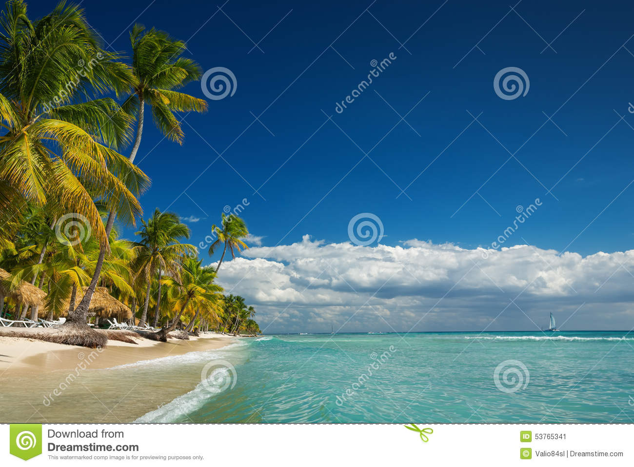 Tropical landscape of paradise lonely island beach