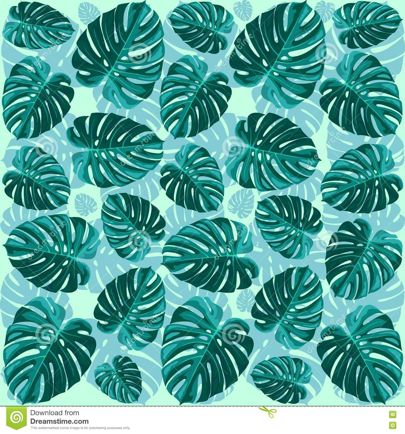 Tropical Leaf Monstera Plant Pattern