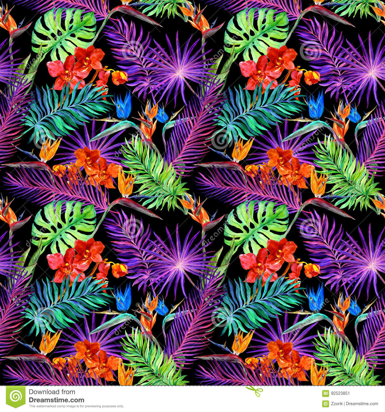 Tropical leaves exotic flowers in neon glow repeating hawaiian royalty free stock photo izmirmasajfo Images
