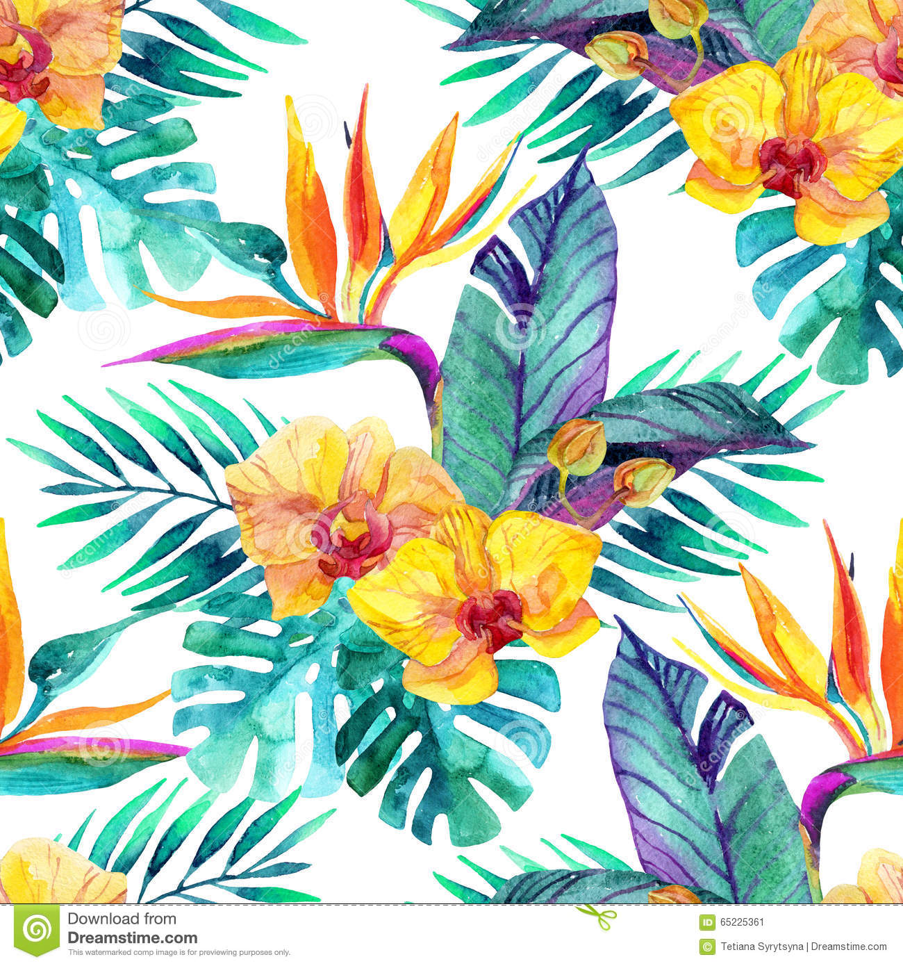 Tropical Leaves And Flowers Floral Design Background