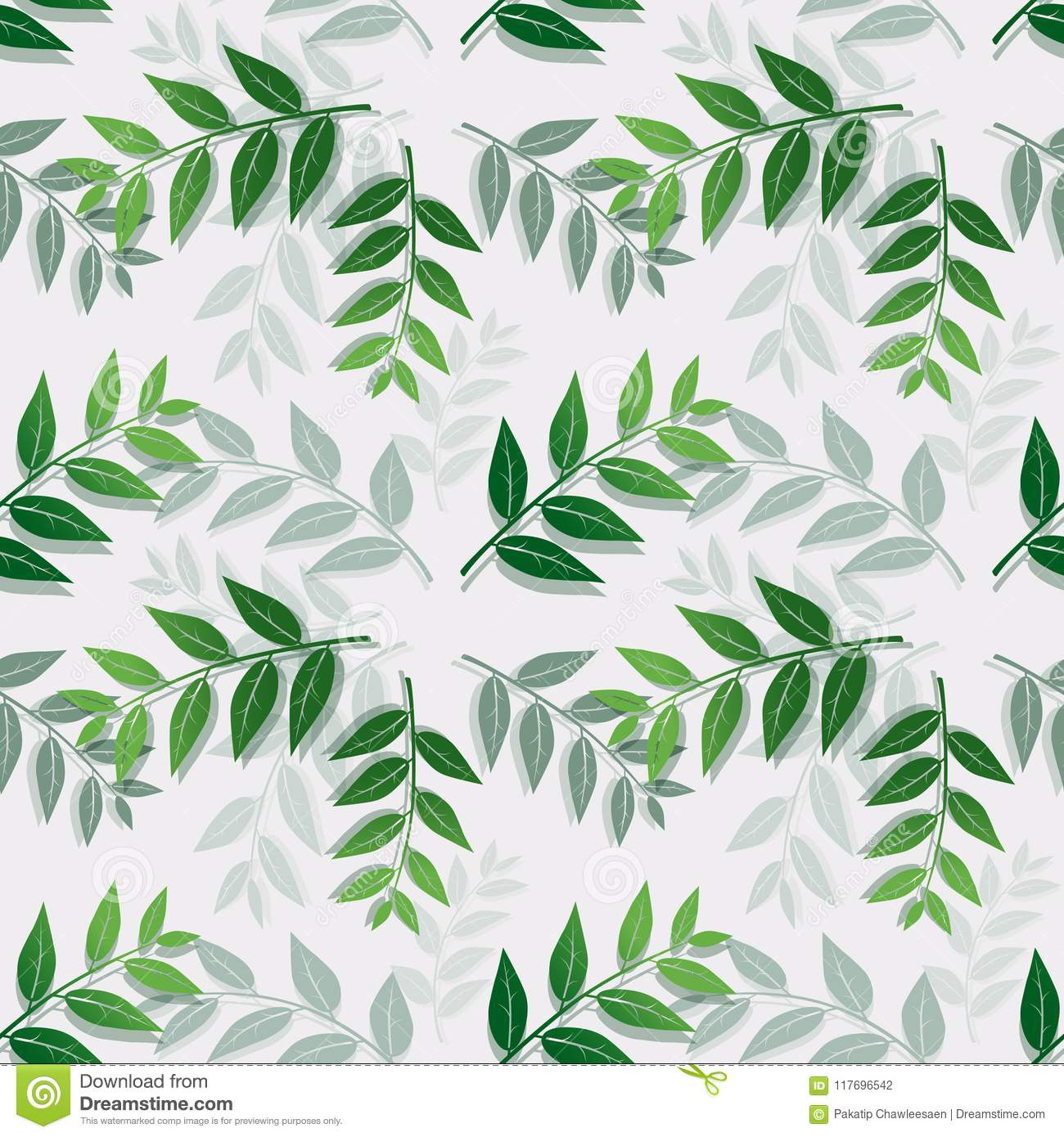 Tropical leaves isolate on white background,Seamless repeat pattern for textile,fabric,cover,print or wrapping paper