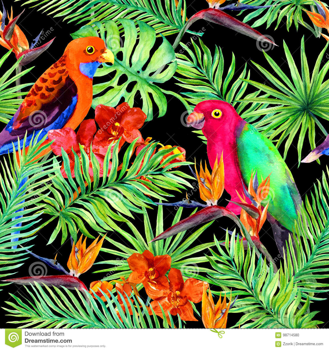 Tropical leaves, parrot birds, exotic flowers. Seamless jungle pattern on black background. Watercolor