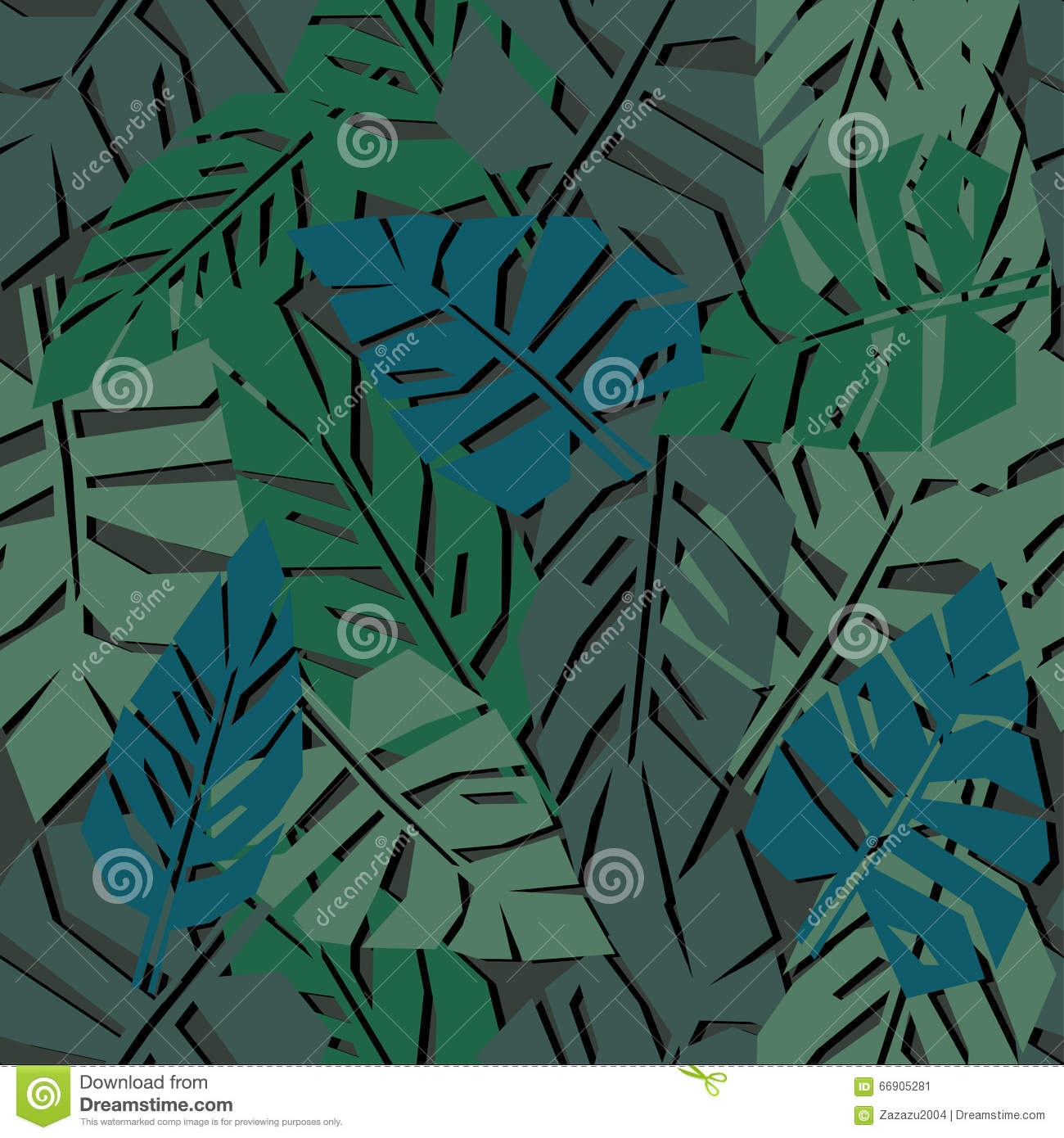 Tropical Leaves Seamless Pattern On Dark Background. Green ...
