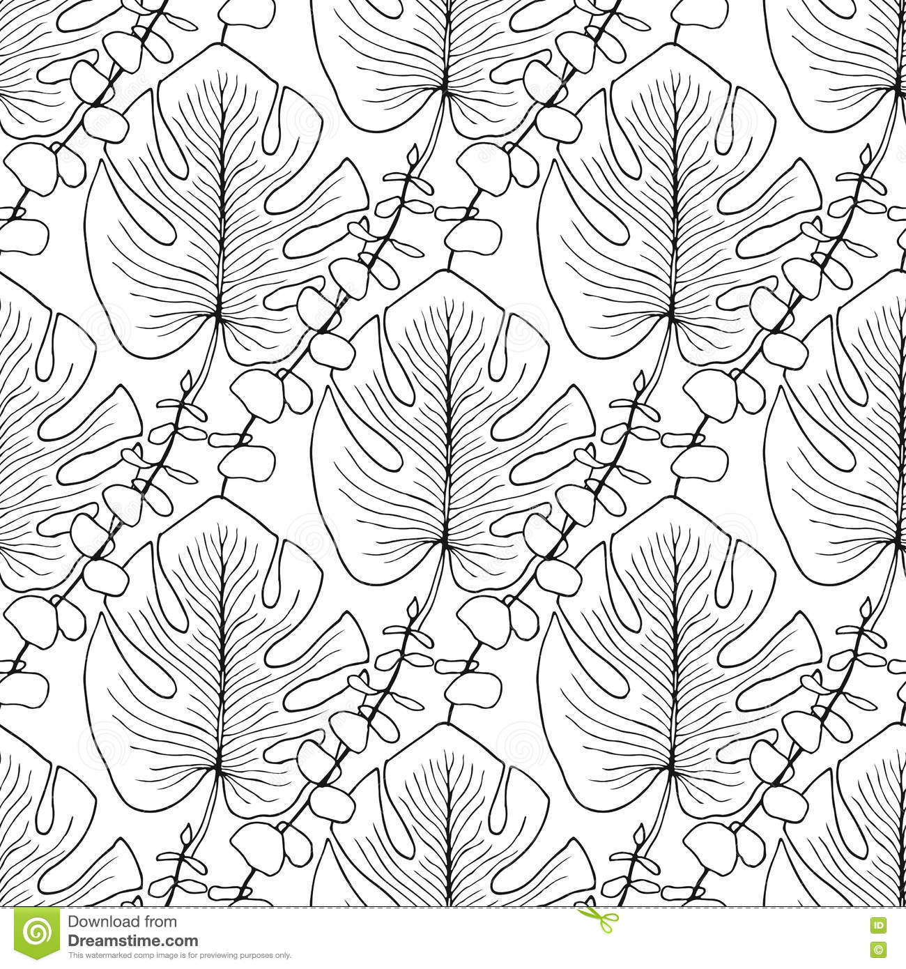 Download Tropical Leaves Vector Pattern Seamless For Adult Coloring Book Page Or Interior