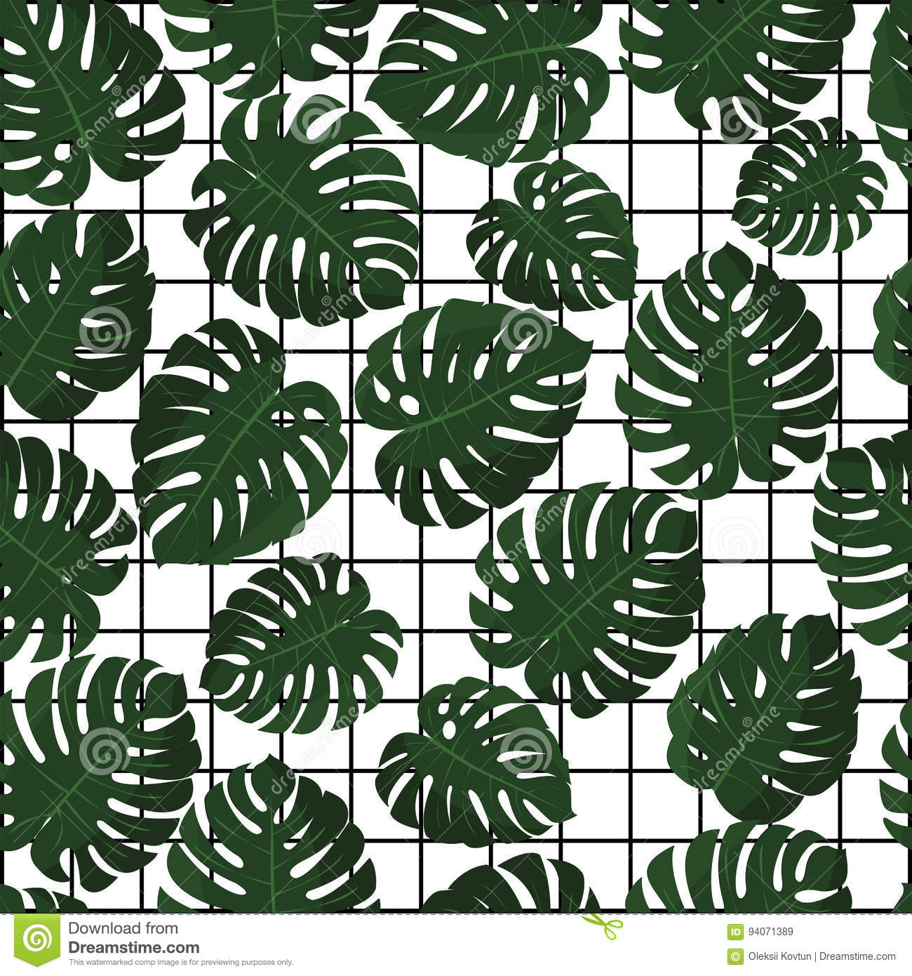 Download Tropical Leaves Vector Seamless Pattern In Swatch Jungle Wallpaper Hawaii