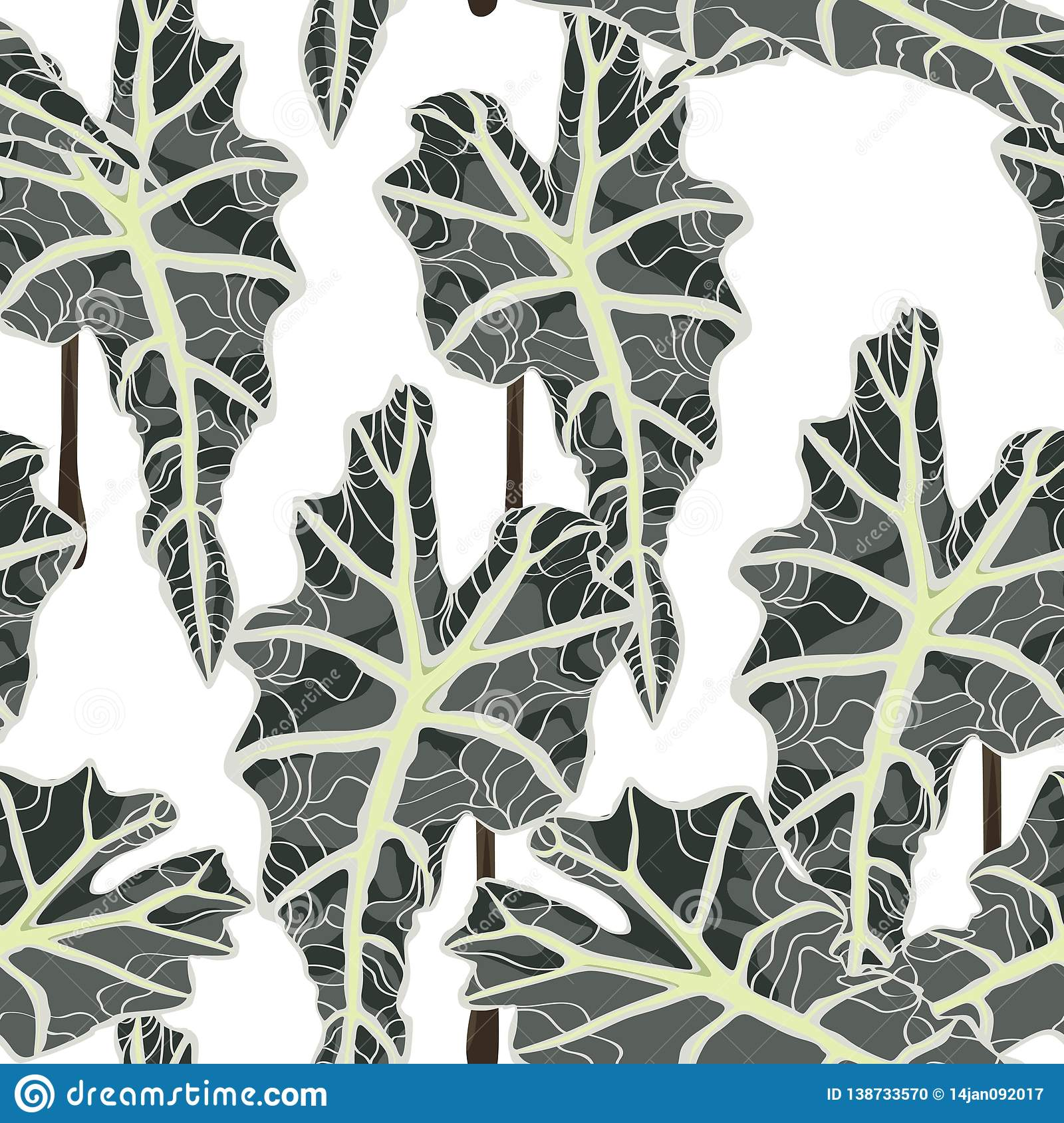 Tropical leaves, white background. Seamless pattern. Jungle foliage illustration. Exotic plant leaves.