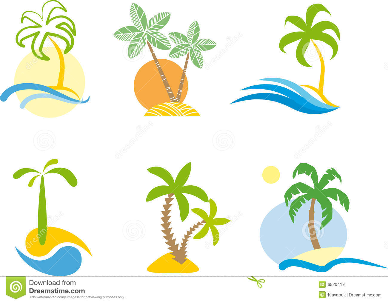 Tropical Logo Beach Scene Graphic Royalty Free Stock Images