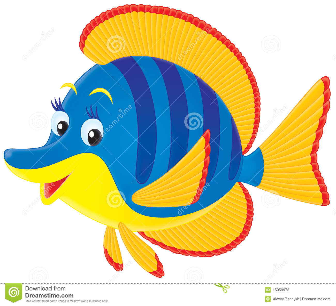 Clipart of a tropical marine yellow and blue fish with deep blue ...