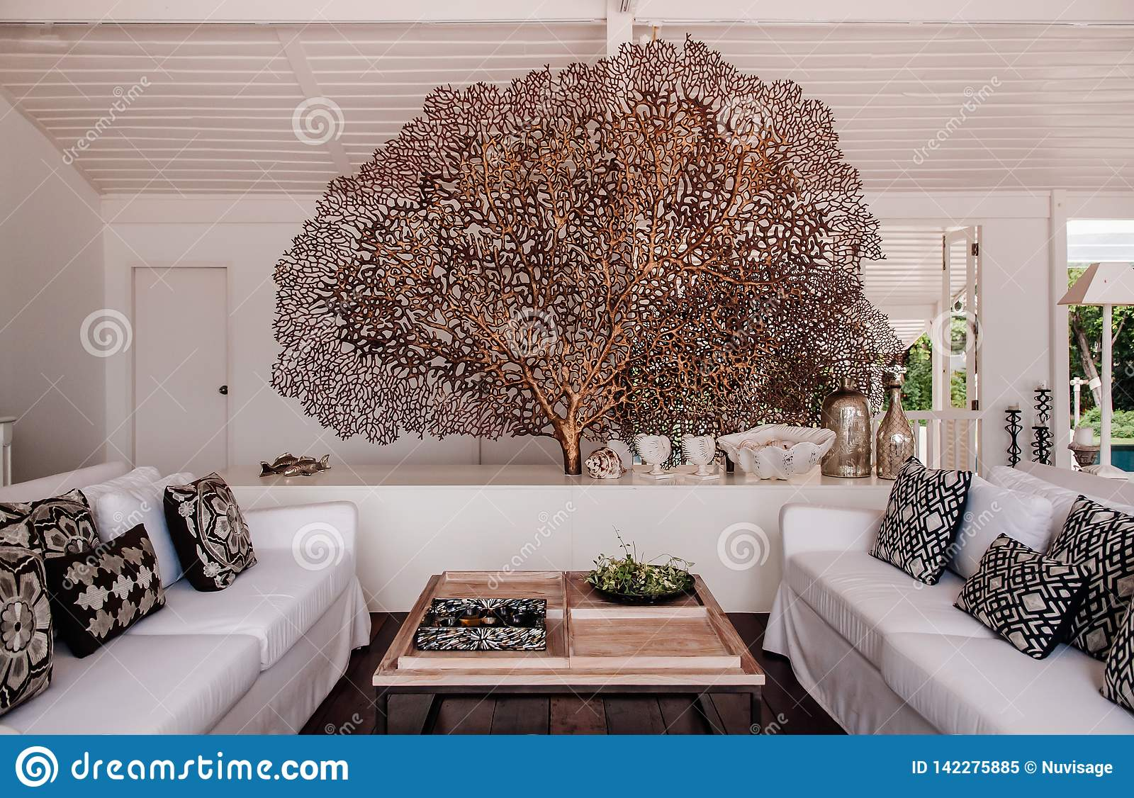 Tropical Modern Beach House White Tone Living Room Interior
