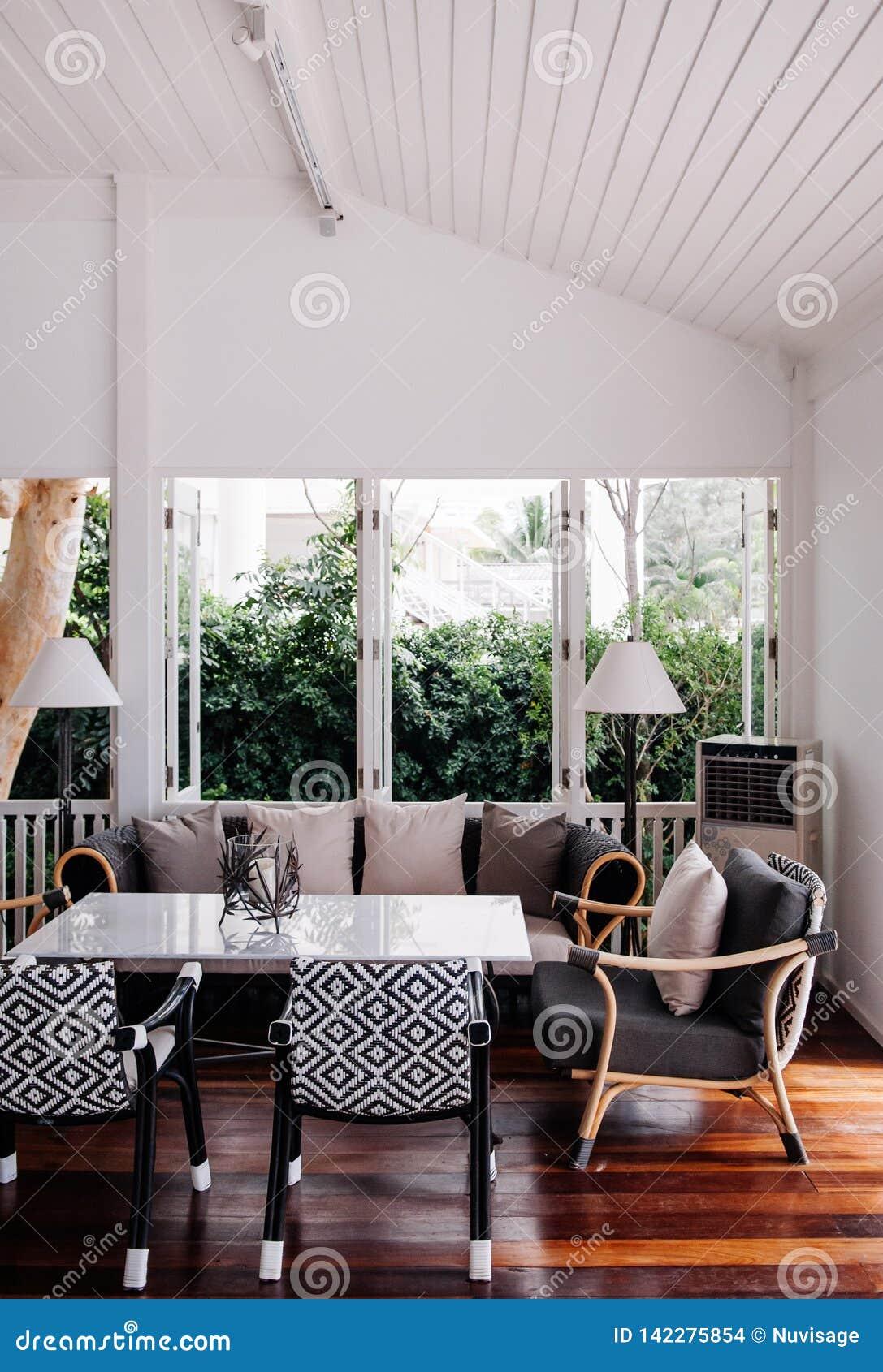 Tropical Modern Beach House White Tone Living Room Interior ...