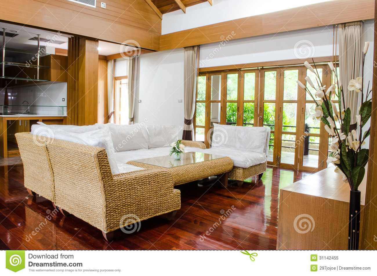 Tropical Modern Living Room Royalty Free Stock Photo