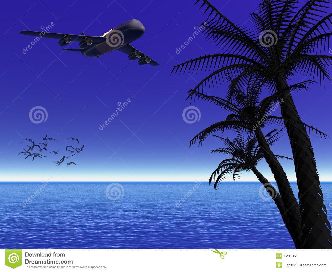 Tropical moon night with airplane.