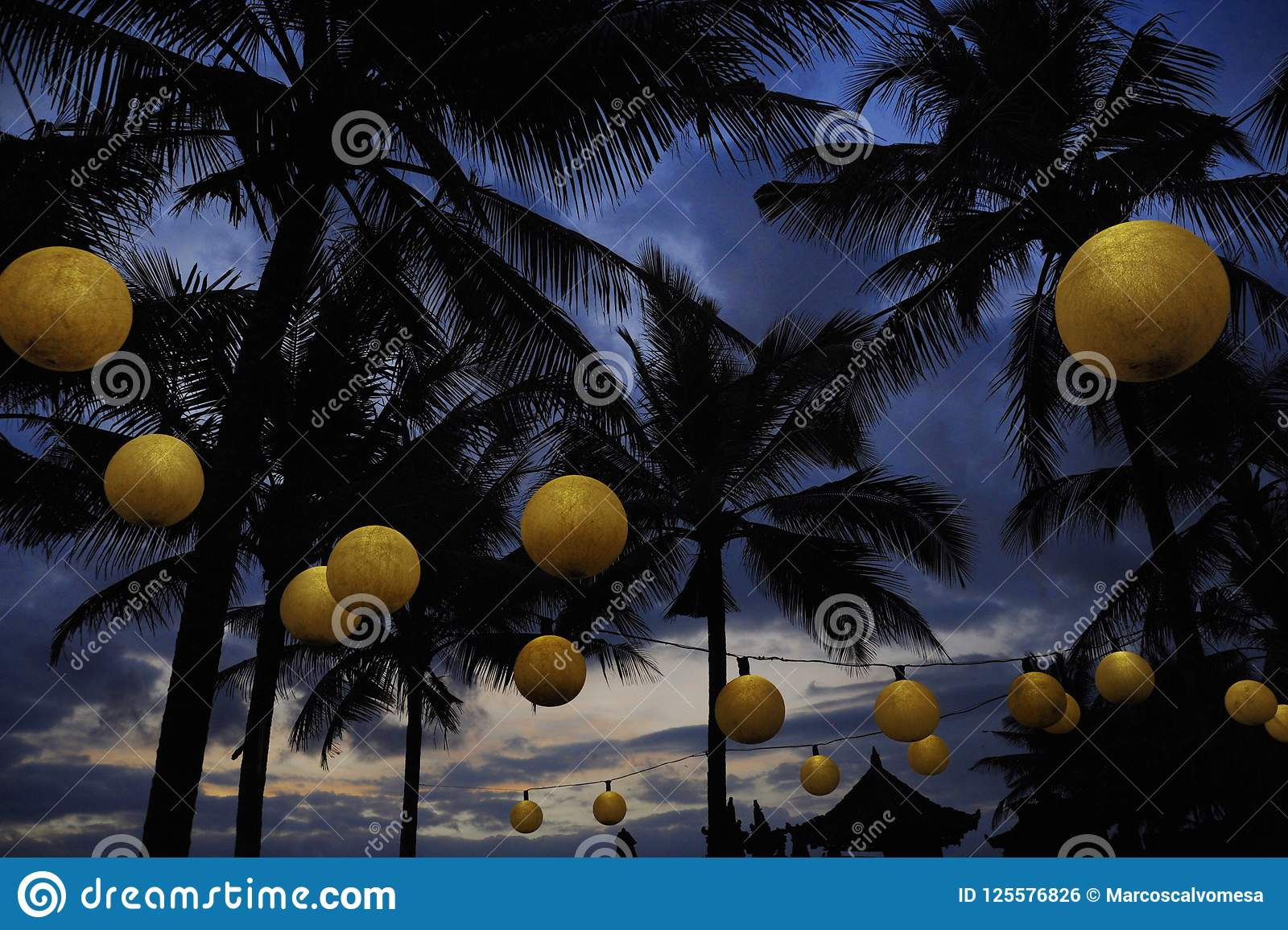 Tropical Night Landscape At Luxury Beach Resort With A View