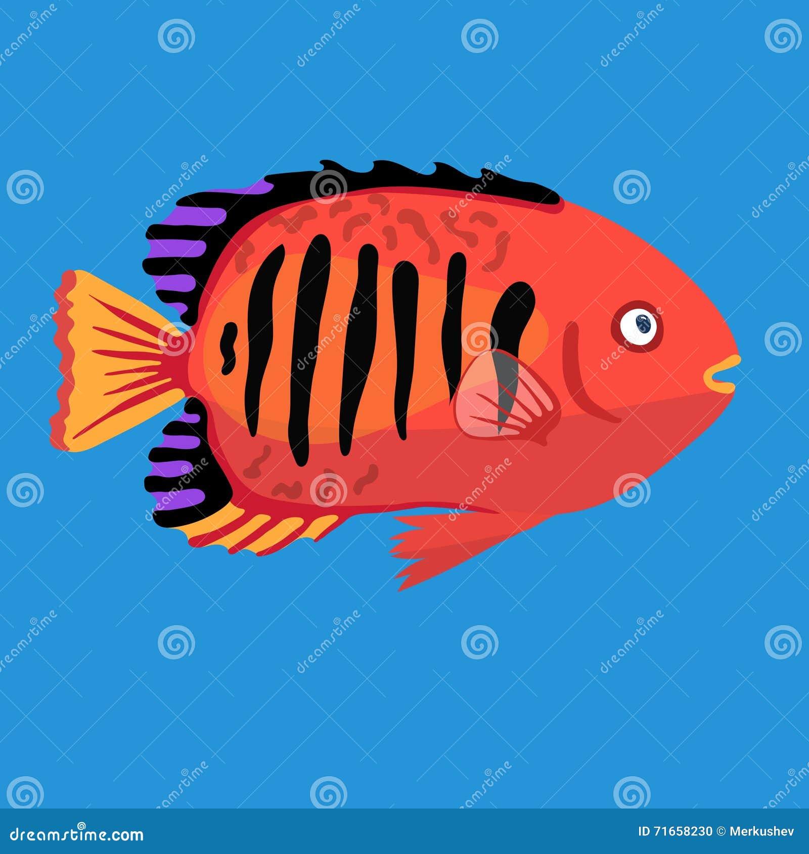 Tropical Ocean Fish, Vector Illustration Stock Vector - Illustration ...