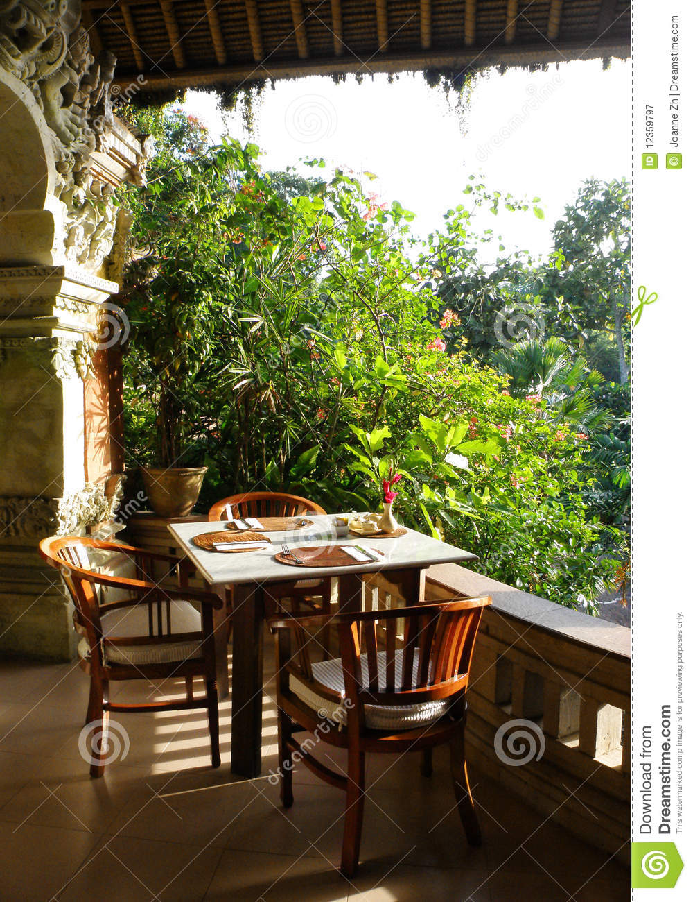 Tropical Outdoor Dining Patio Royalty Free Stock