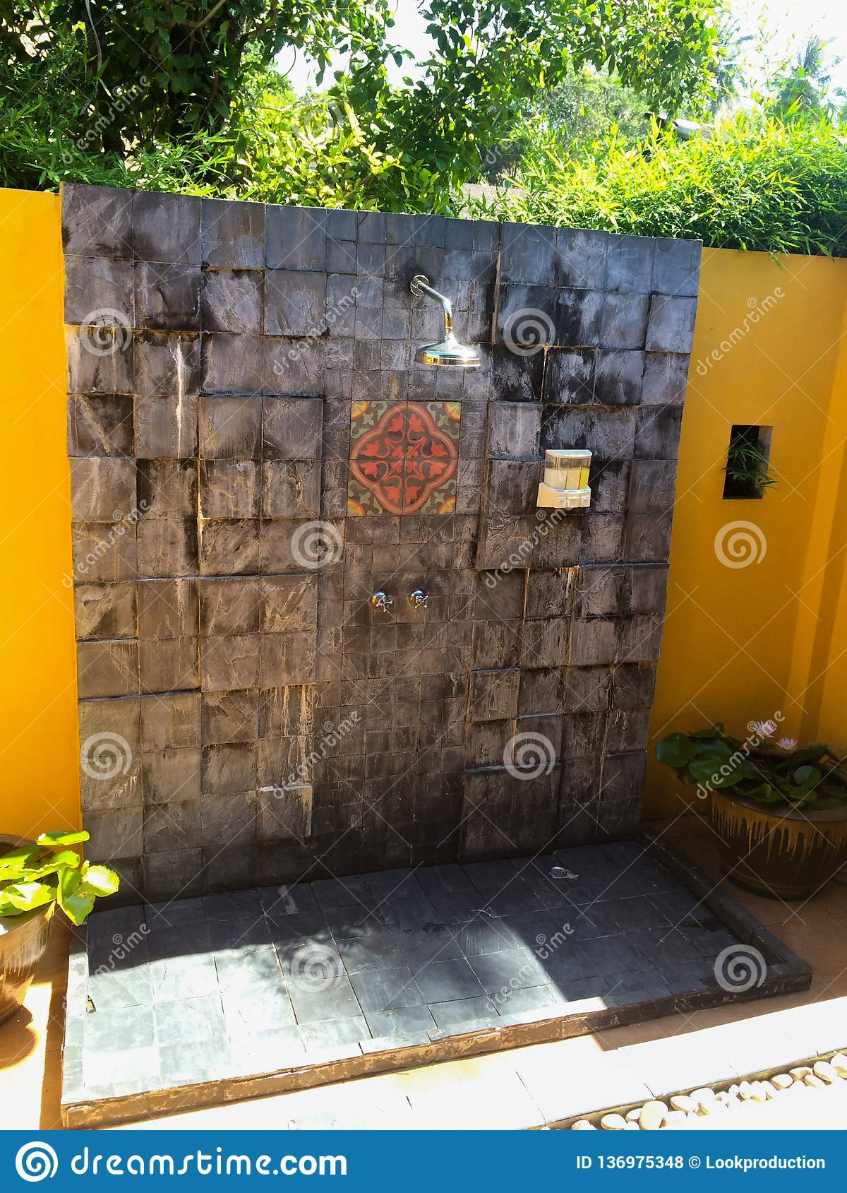 Tropical outdoors shower at luxury villa