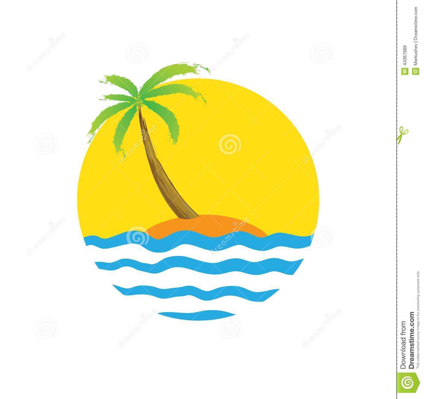 tropical palm on island with sea stock vector illustration of