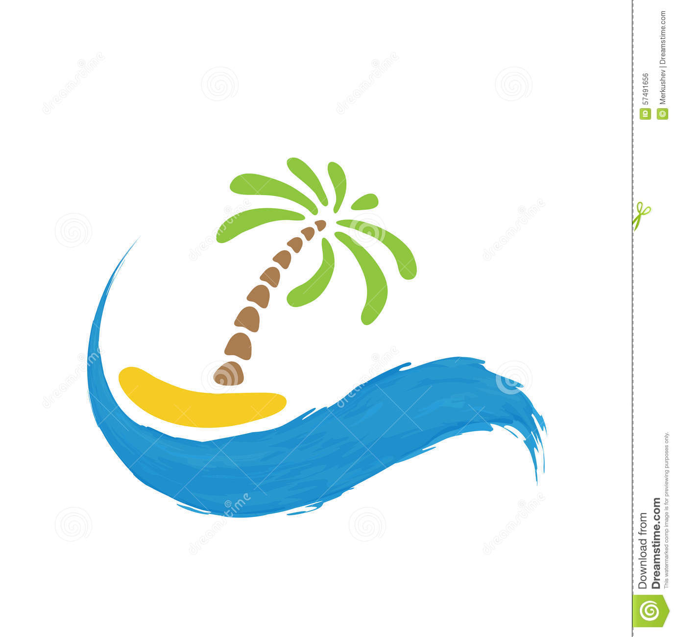 tropical palm on island with sea vector logo stock vector
