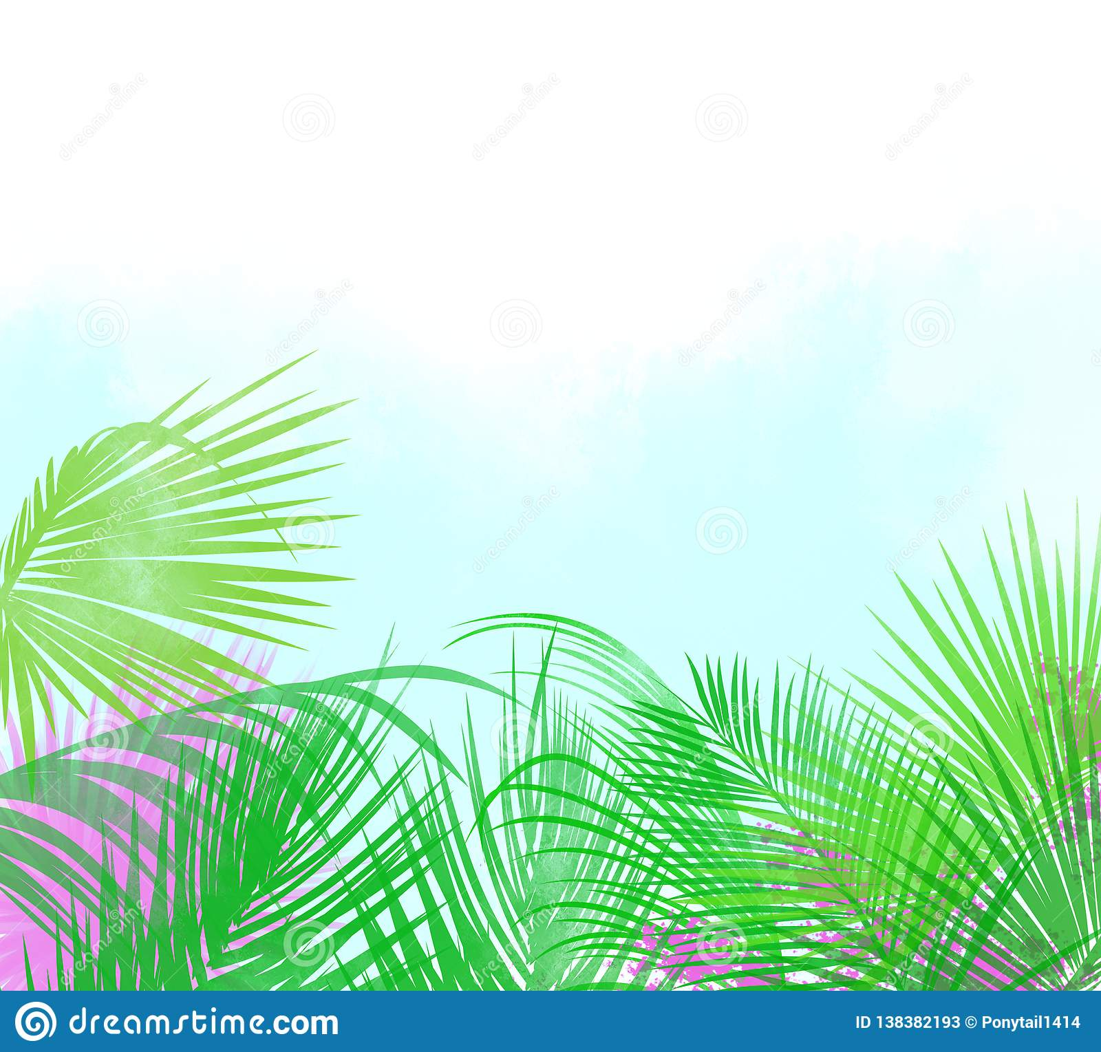Background Or Header Of Tropical Leaves And Flowers Stock Illustration Illustration Of Beautiful Impressionistic 138382193 Watercolour clip art hand drawn. https www dreamstime com tropical palm leaves hot pink flowers background header image138382193