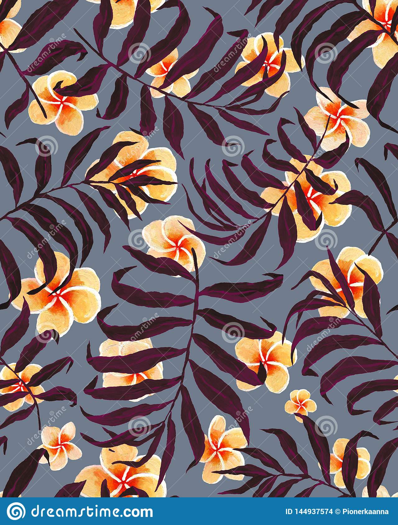 Tropical palm leaves pattern and plumeria flowers.