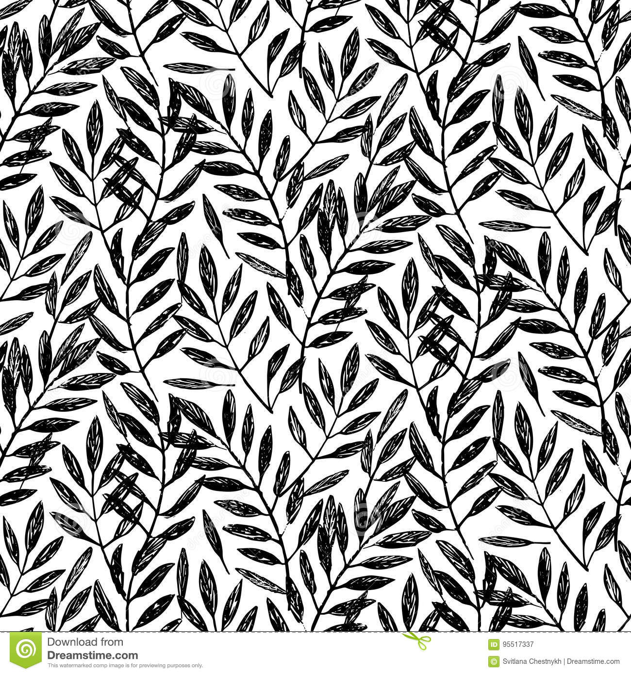 Tropical Palm Leaves Seamless Foliage Pattern Stock Vector