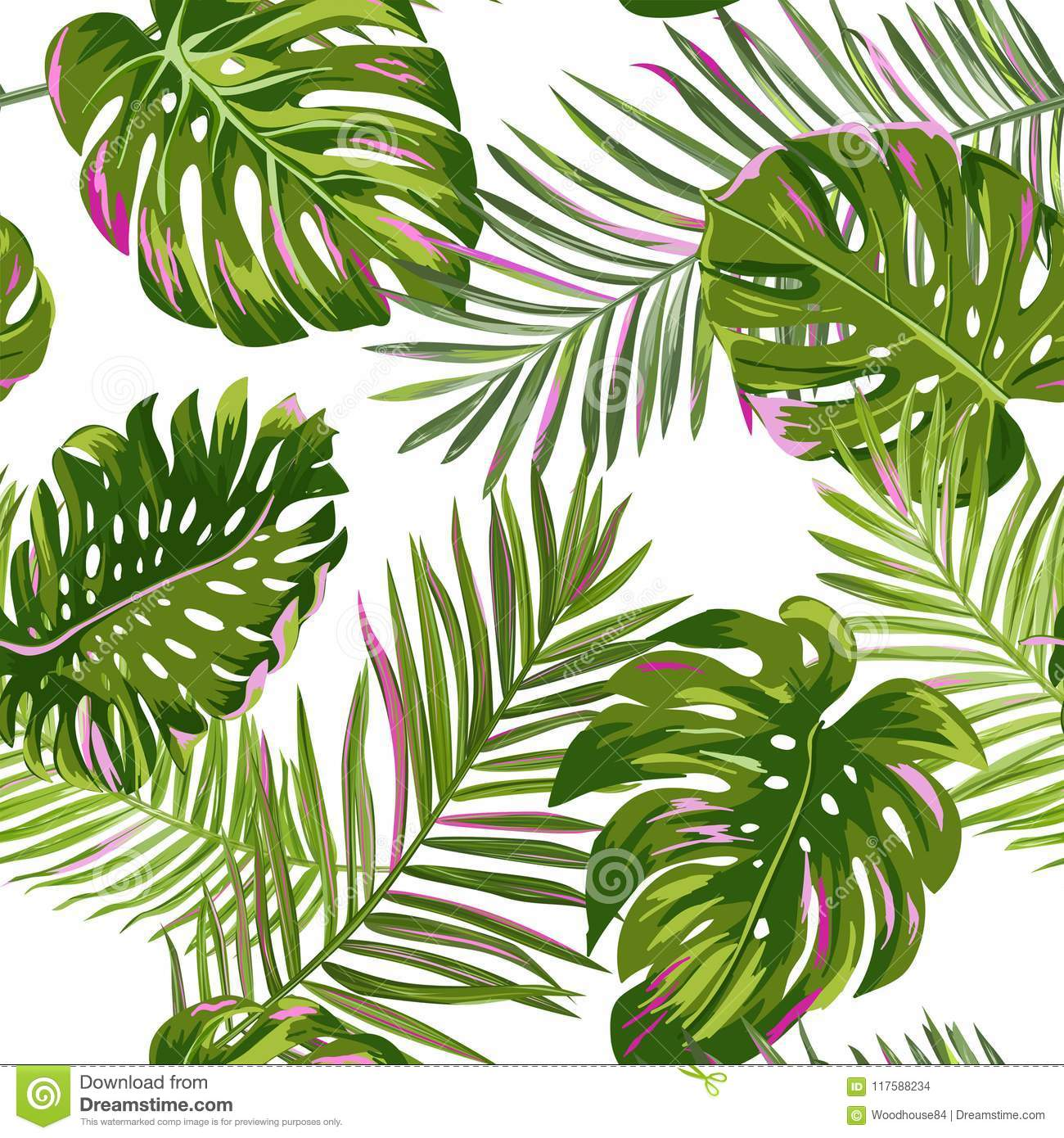 Tropical Palm Leaves Seamless Pattern. Watercolor Floral Background. Exotic Botanical Design for Fabric, Textile