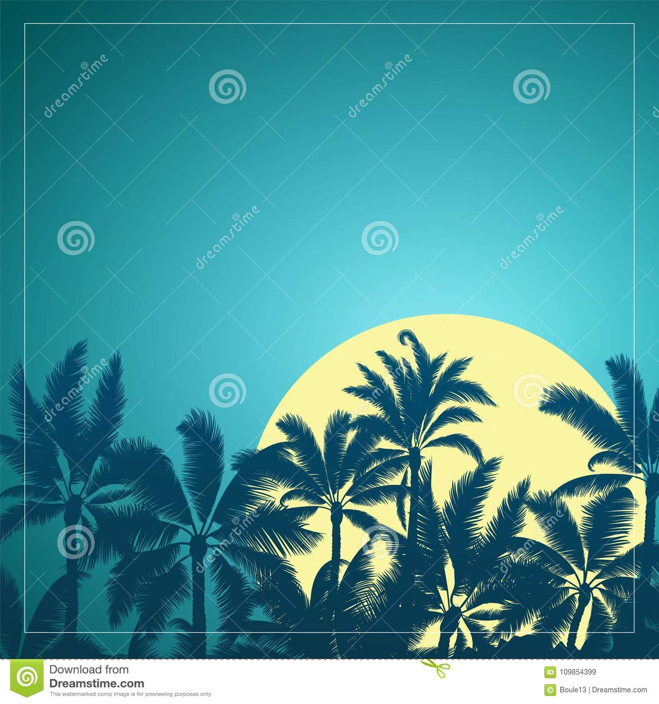 Tropical palm with moon sunrise and blue sky