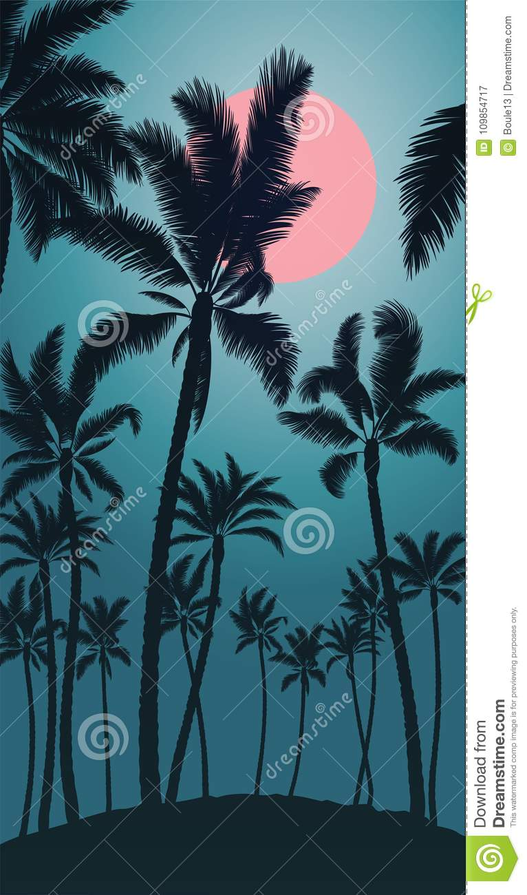 Tropical palm with pink moon sunrise and blue sky