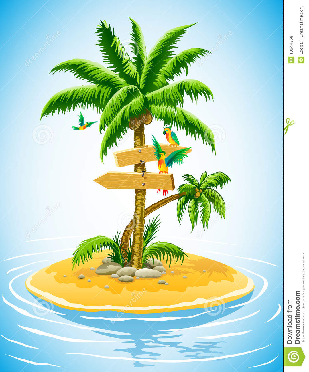 Palm Tree Island: Tropical Palm Tree On The Uninhabited Island Royalty Free