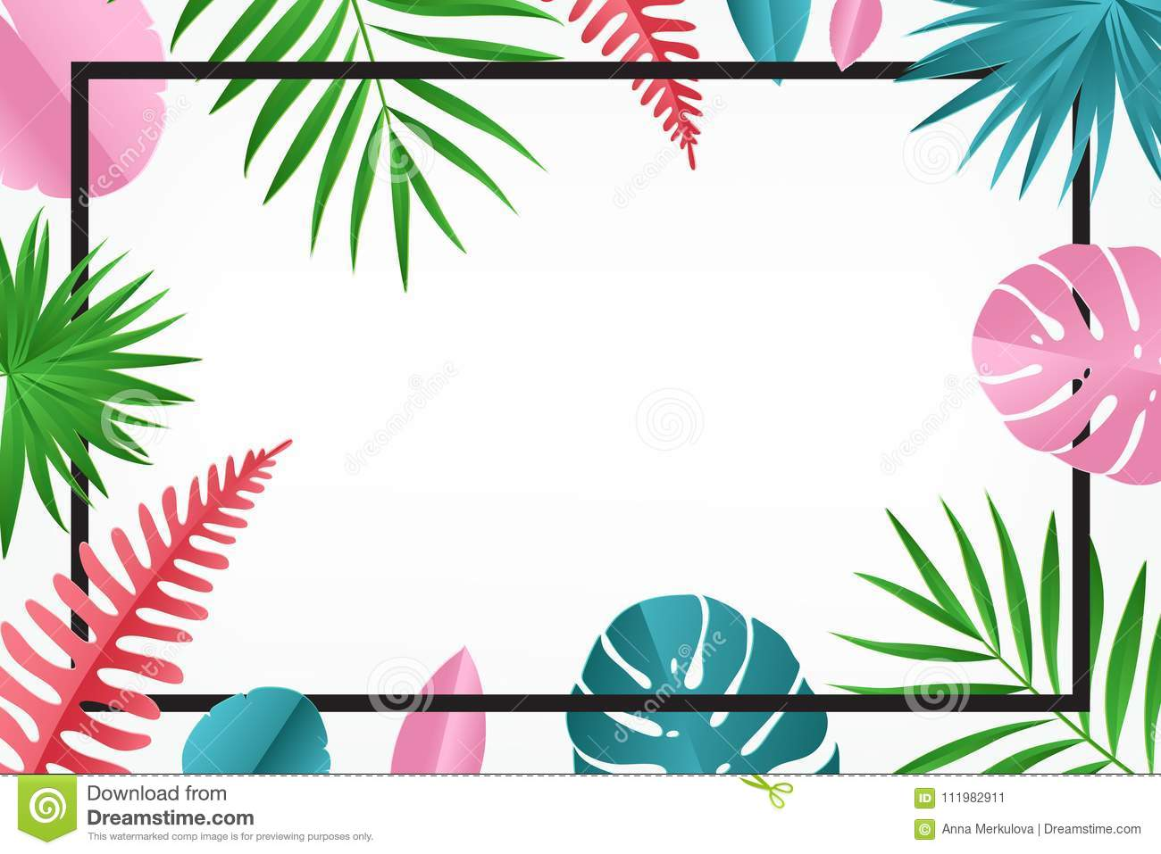 tropical paper palm monstera leaves pattern with frame stock