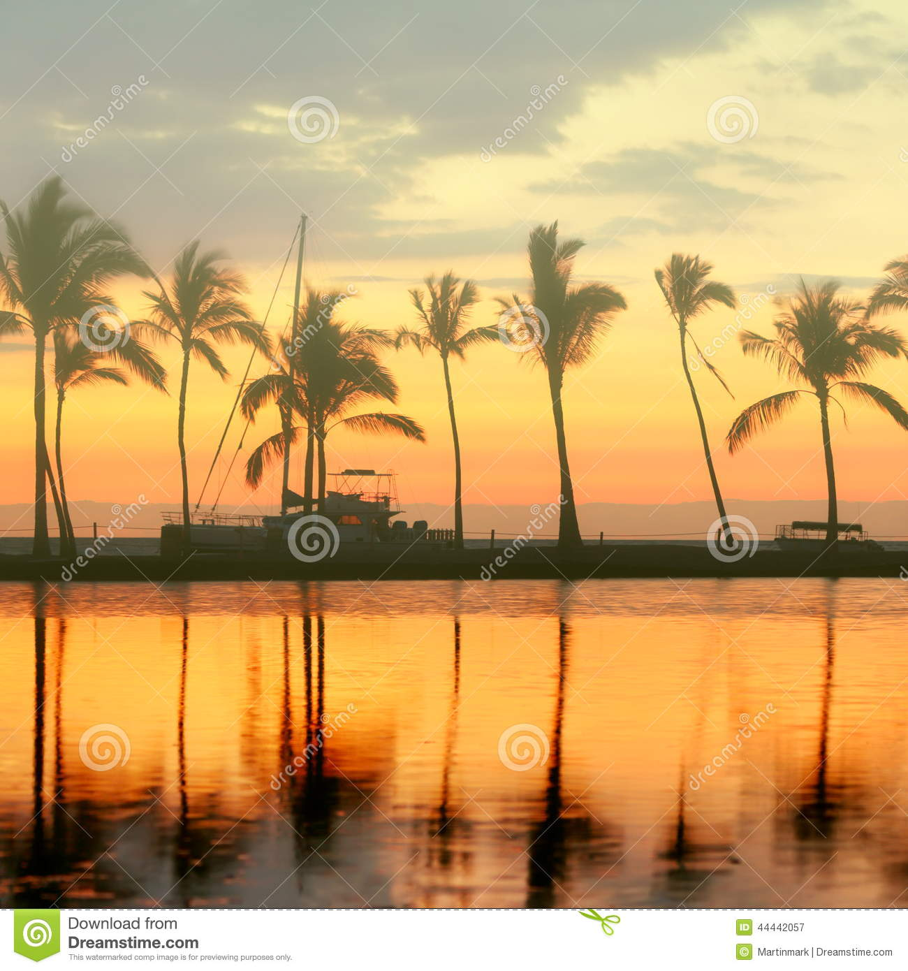 Tropical Paradise Beach Sunset With Palm Trees Stock Image