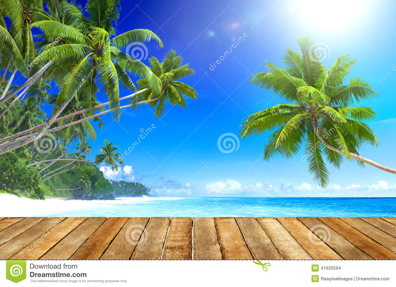 Tropical Paradise Beach And Wooden Plank Floor Stock Photo