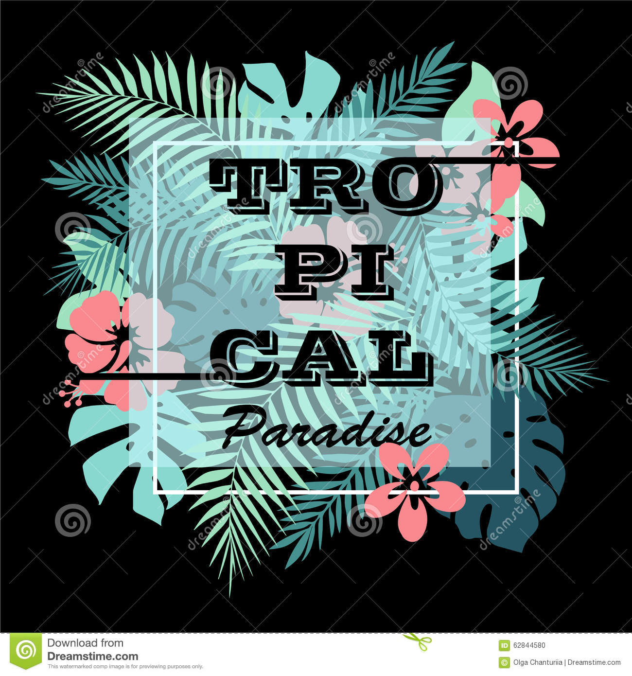 T shirt poster design - T Shirt Or Poster Design Print With Palm Leaves And Flowers