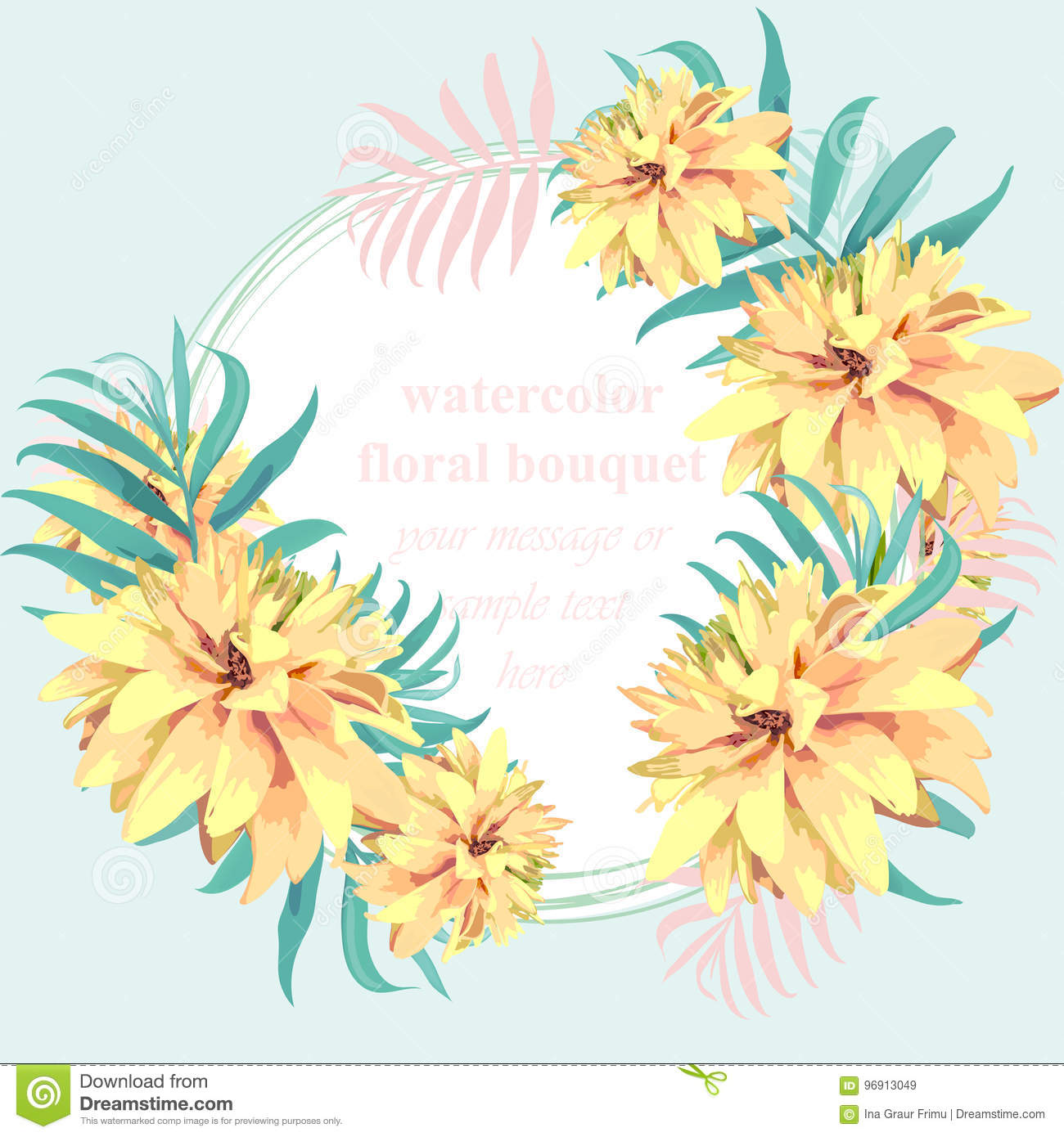 Tropical Paradise Vector Floral Card Summerl Template Design With