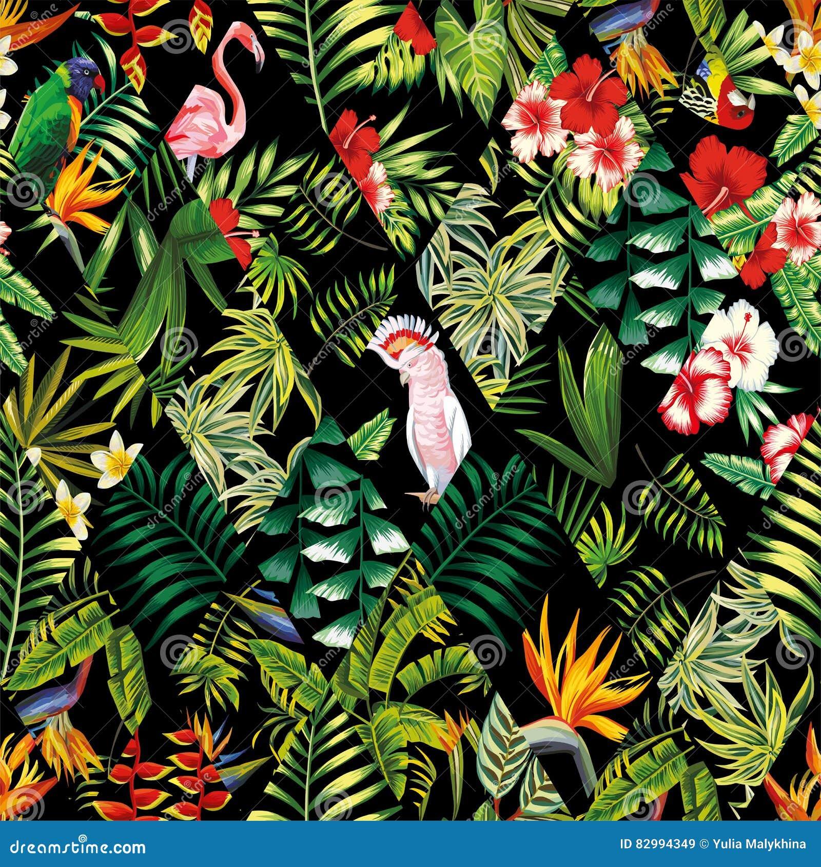 Tropical patchwork seamless pattern black