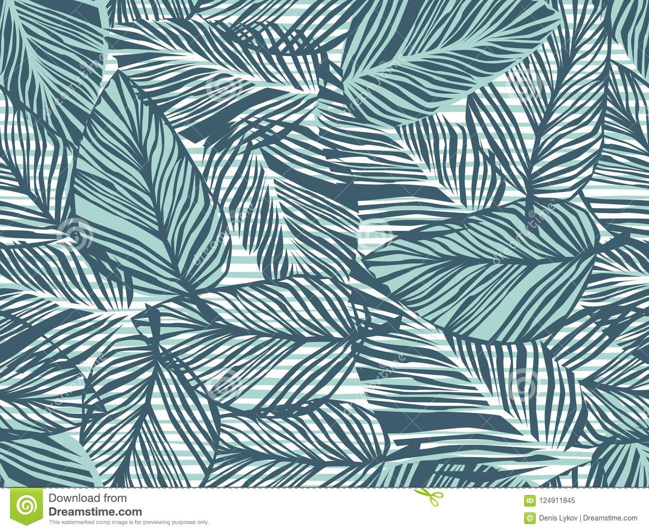Tropical pattern, palm leaves seamless vector floral background. Exotic plant on stripes print illustration. Summer nature jungle