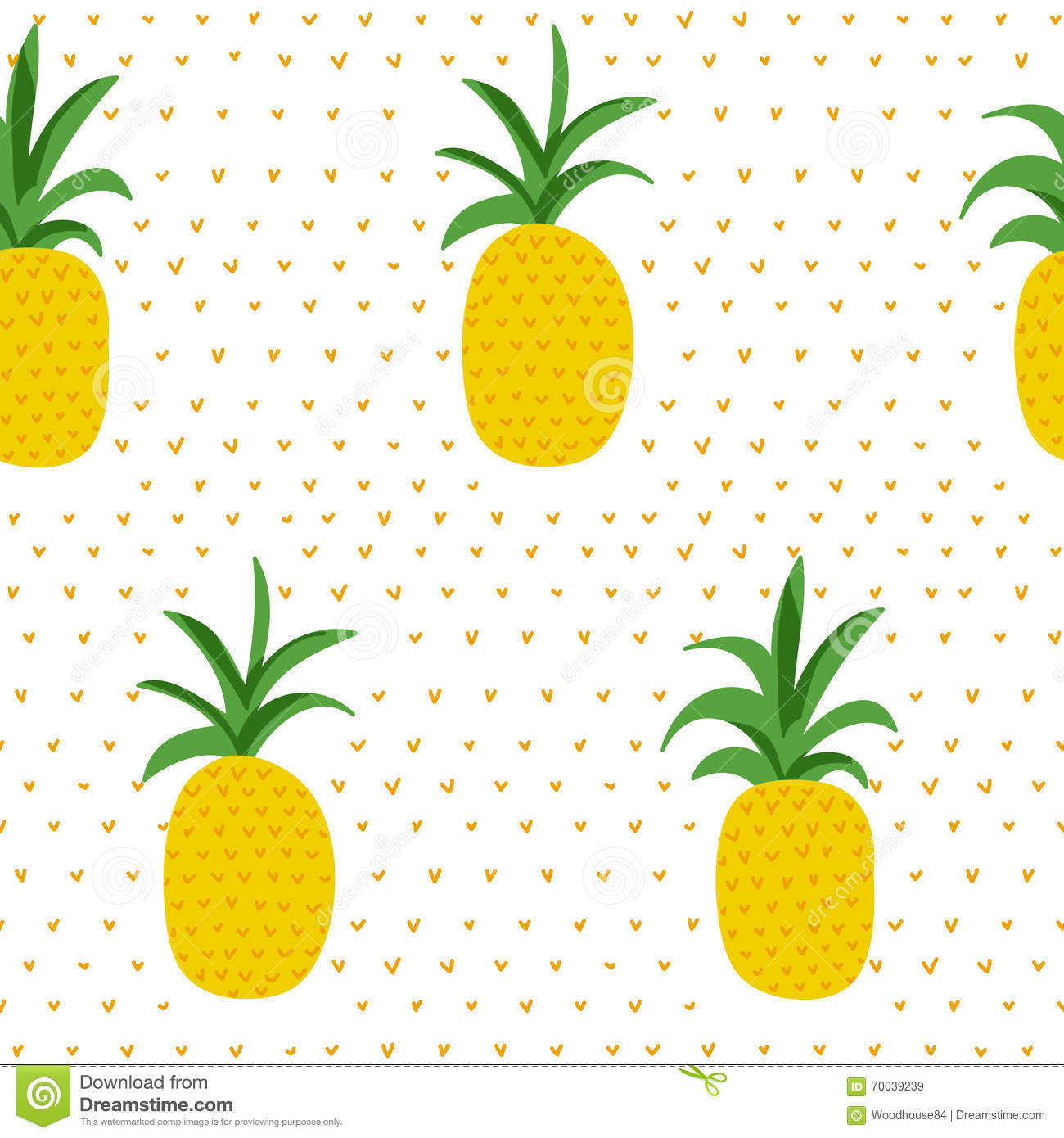 Tropical Pattern. Pineapples Retro Background