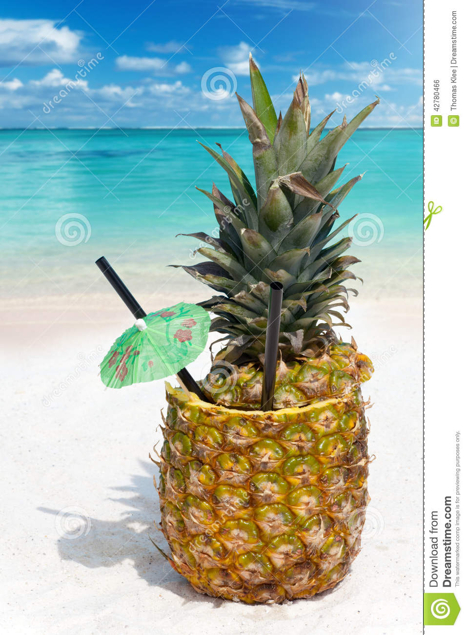 Tropical Pineapple Drink In The Sand Stock Photo Image