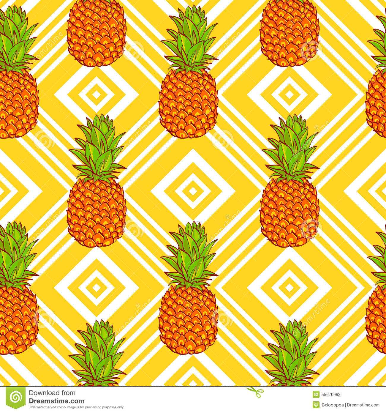 Tropical pineapples background stock vector illustration for Fond ecran ananas