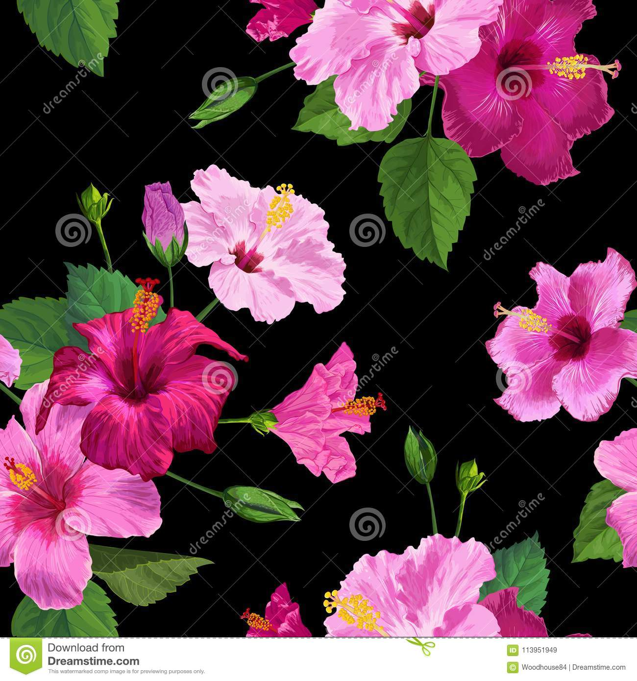 tropical pink hibiscus flower seamless pattern. floral summer