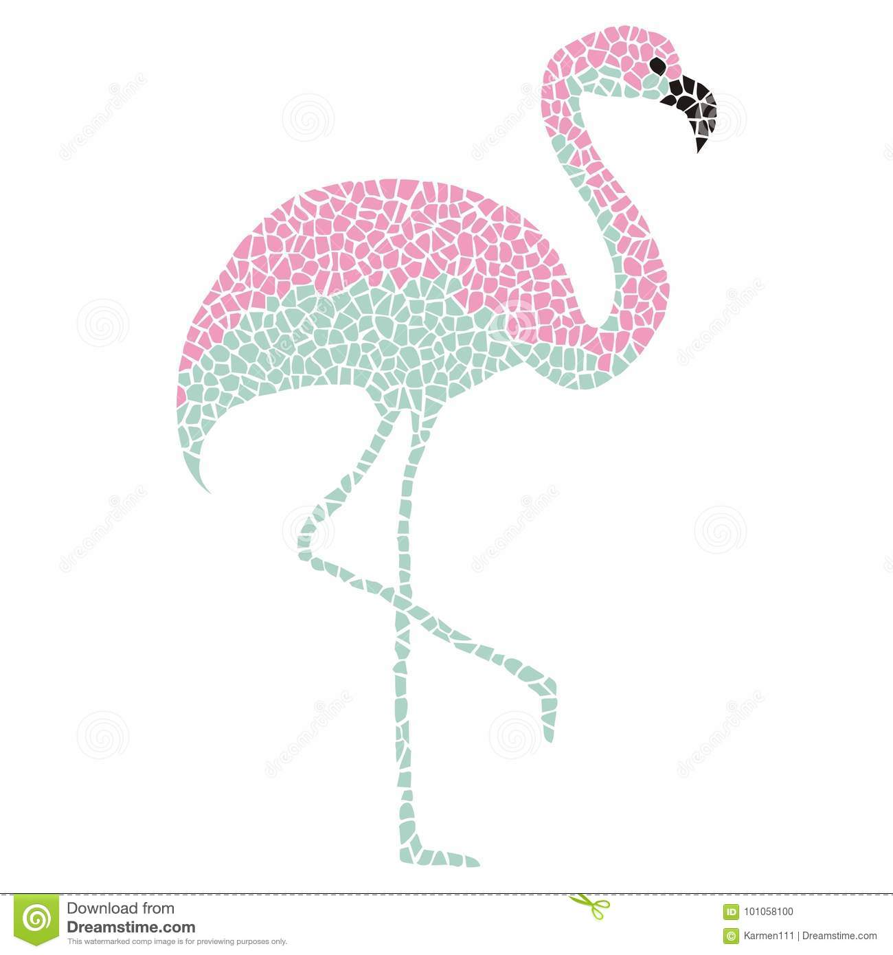 tropical pink and turquoise flamingo bird on white background stock