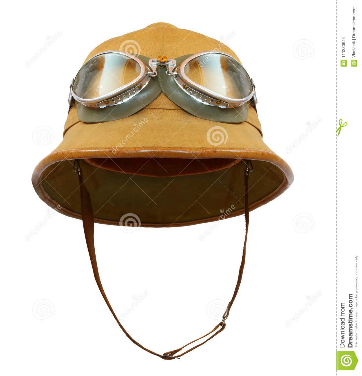 5879c414b9f5a Tropical Pith Helmet With Goggles. Stock Photo - Image of helmet ...